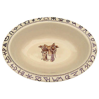 Boots & Saddle Oval Serving Bowl 12.5 x 9.5-inch