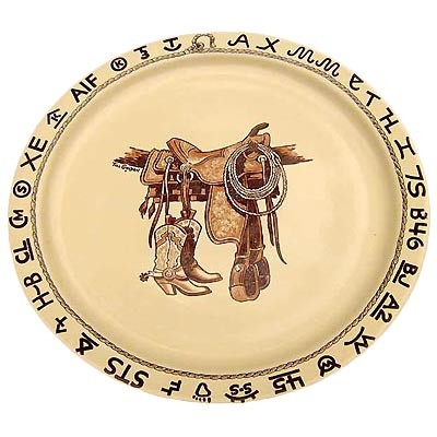 Boots & Saddle Round Serving Platter 14-inch
