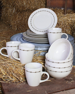 Barbwire Western Dinnerware (Set of 16)