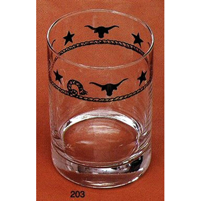 Western Double Old Fashioned Glasses Ropes, Stars and Longhorns 14 oz. (Set of 4)