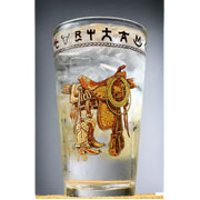 Western Water / Iced Tea Glasses - Boots and Saddles -  Set of 4