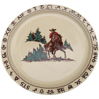 Western Dinnerware Christmas Cowboy Serving Platter Round 14-inch