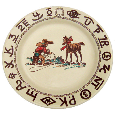 Western Dinnerware Christmas Cowboy Lunch Plate 9.5-inch