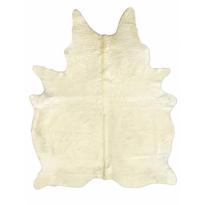 Natural Cowhide Rug - Solid White and Yellow Undertones Special