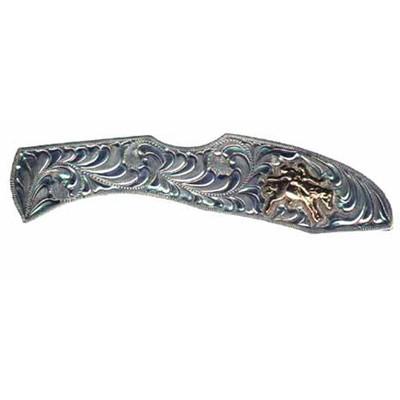Western Cowboy Knife Silver with Bareback Rider