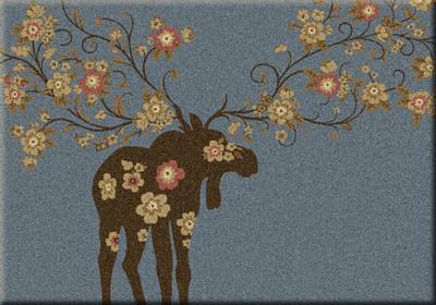 Moose Blossom - Blue - 3'x4'