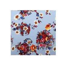 Wild Rag Charmeuse Prints Light Blue Bouquet