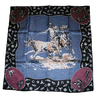 Wild Rag Silk Scarf Limited Edition CM Russel Slate Blue