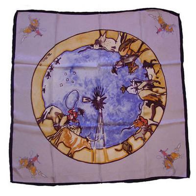 Wild Rag Silk Scarf Limited Edition Windmill Silver