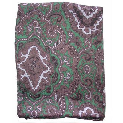 Wild Rag Silk Scarf Paisley Green/Chocolate