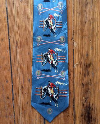 Blue Broncs & Brands Silk Tie