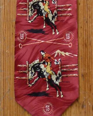 Red Broncs & Brands Silk Tie