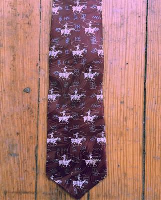 Silk Roper & Brands Tie - Brown