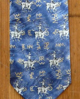 Silk Roper and Brands Tie - Denim
