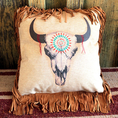 Buffalo Skull Pillow
