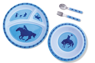 Kids 4 Piece Blue Dinner Set
