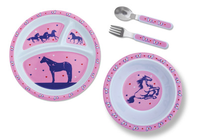 Kids 4 Piece Pink Dinner Set