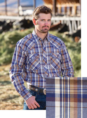 Wyoming Traders Printed Blue/Tan Shirt
