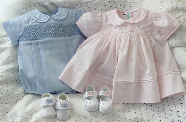 Dressy layette ideas for boy and girl