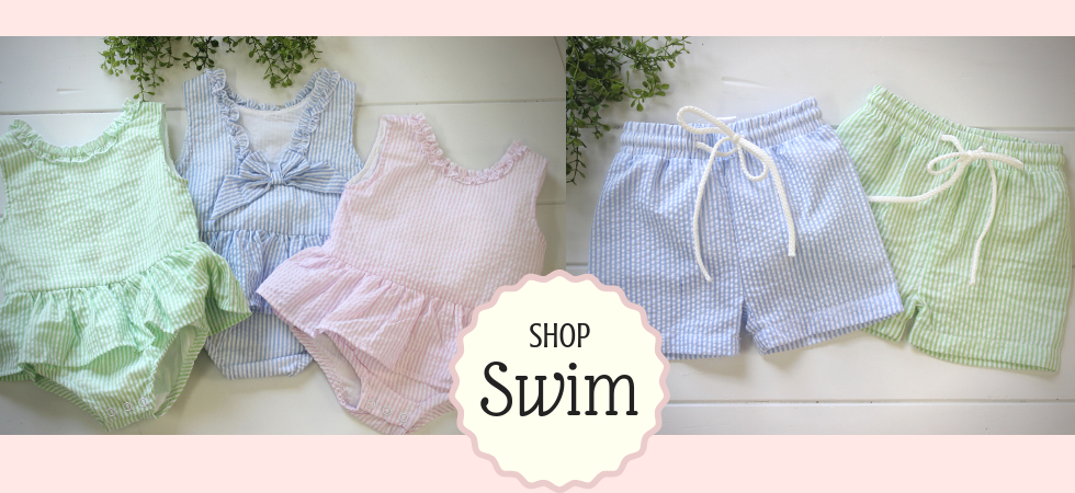3652b746fc Shop our precious girls monogrammed one piece swimsuit in your choice of  green, pink or blue. Matching boys seersucker swim shorts are also  available.