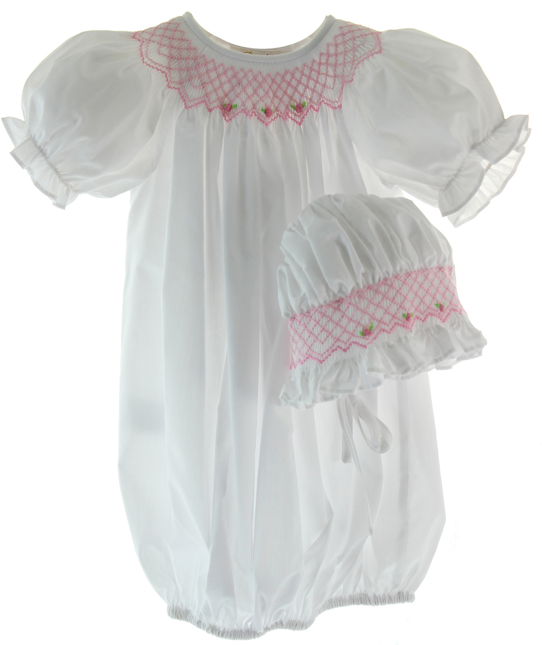 Newborn Girls White Pink Smocked Take Home Gown & Bonnet Set