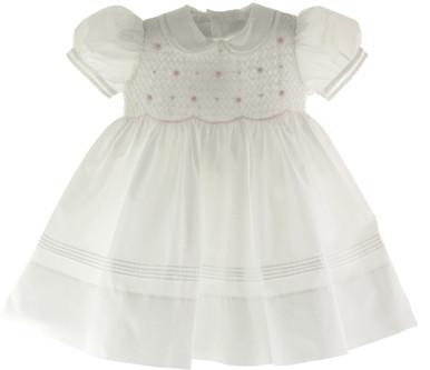 Feltman Brothers Girls White & Pink Smocked Portrait Dress 17436
