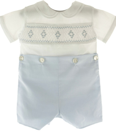 Feltman Brother Infant Boys Blue White Smocked Bobbie Suit