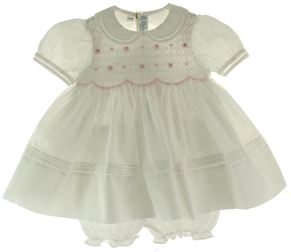 Feltman Brothers White Amp Pink Smocked Infant Girls Dress
