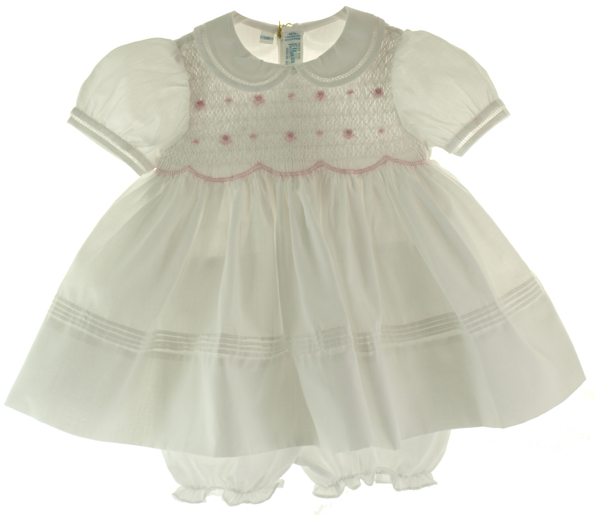 Smocked Christmas Dress.Feltman Brothers White Pink Smocked Infant Girls Dress