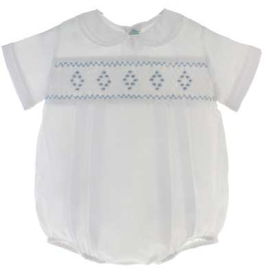 Newborn Baby Boys White Blue Smocked Bubble Outfit