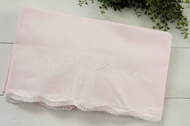 Pink Receiving Blanket Lace Trim 2301 Feltman