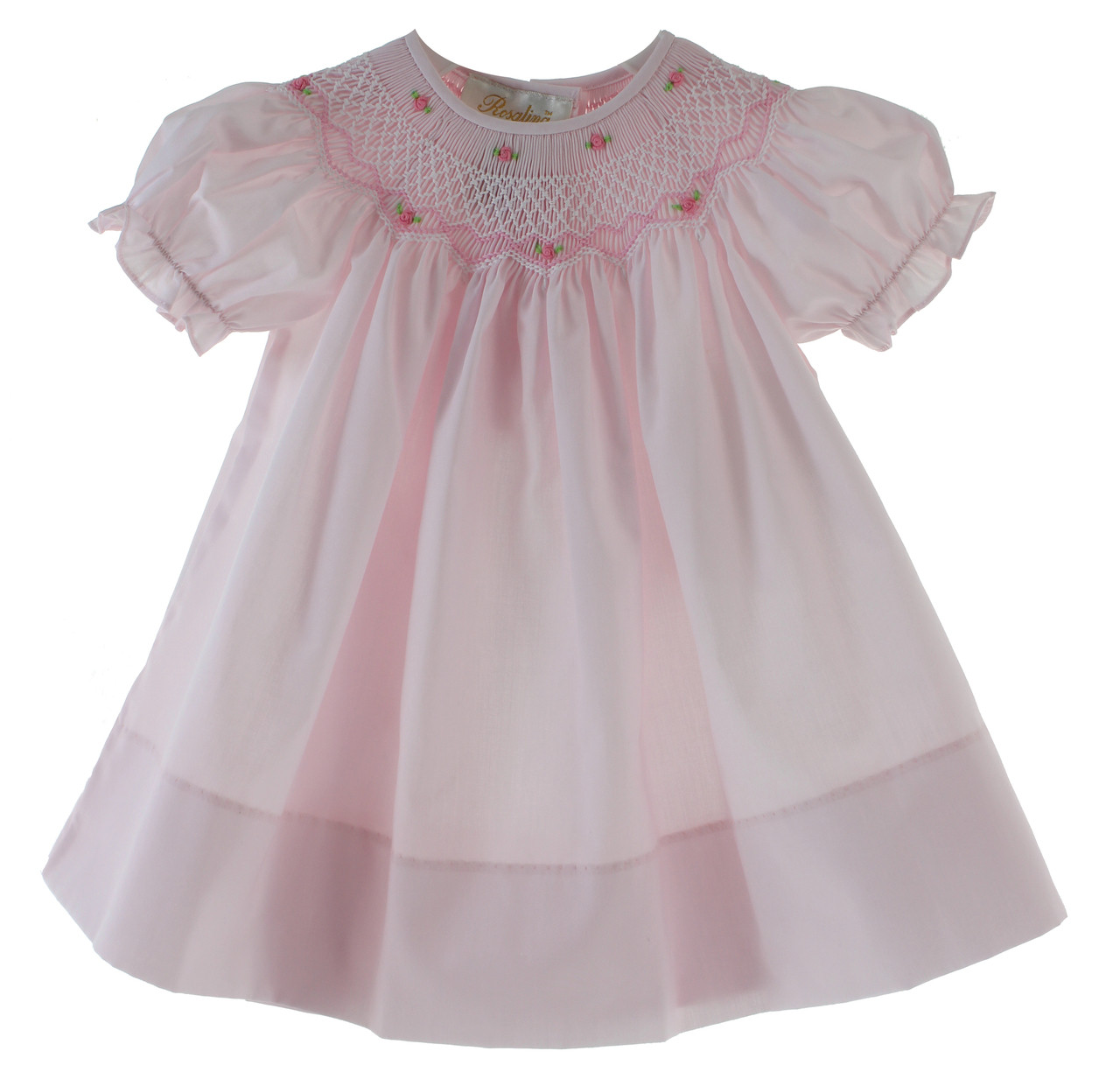 847d53cad2e35 Girls Pink Bishop Dress with Smocking | Rosalina Baby Clothes