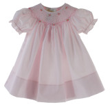 Girls Pink Smocked Bishop Dress