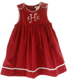 Girls Red Monogrammable Christmas Dress & Bloomer Petit Ami