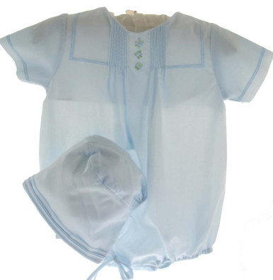 Infant Boys Blue Bubble Outfit with Embroidered Train & Cap - Petit Ami