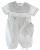 Infant Boys White Christening Romper Cross Collar - Petit Ami