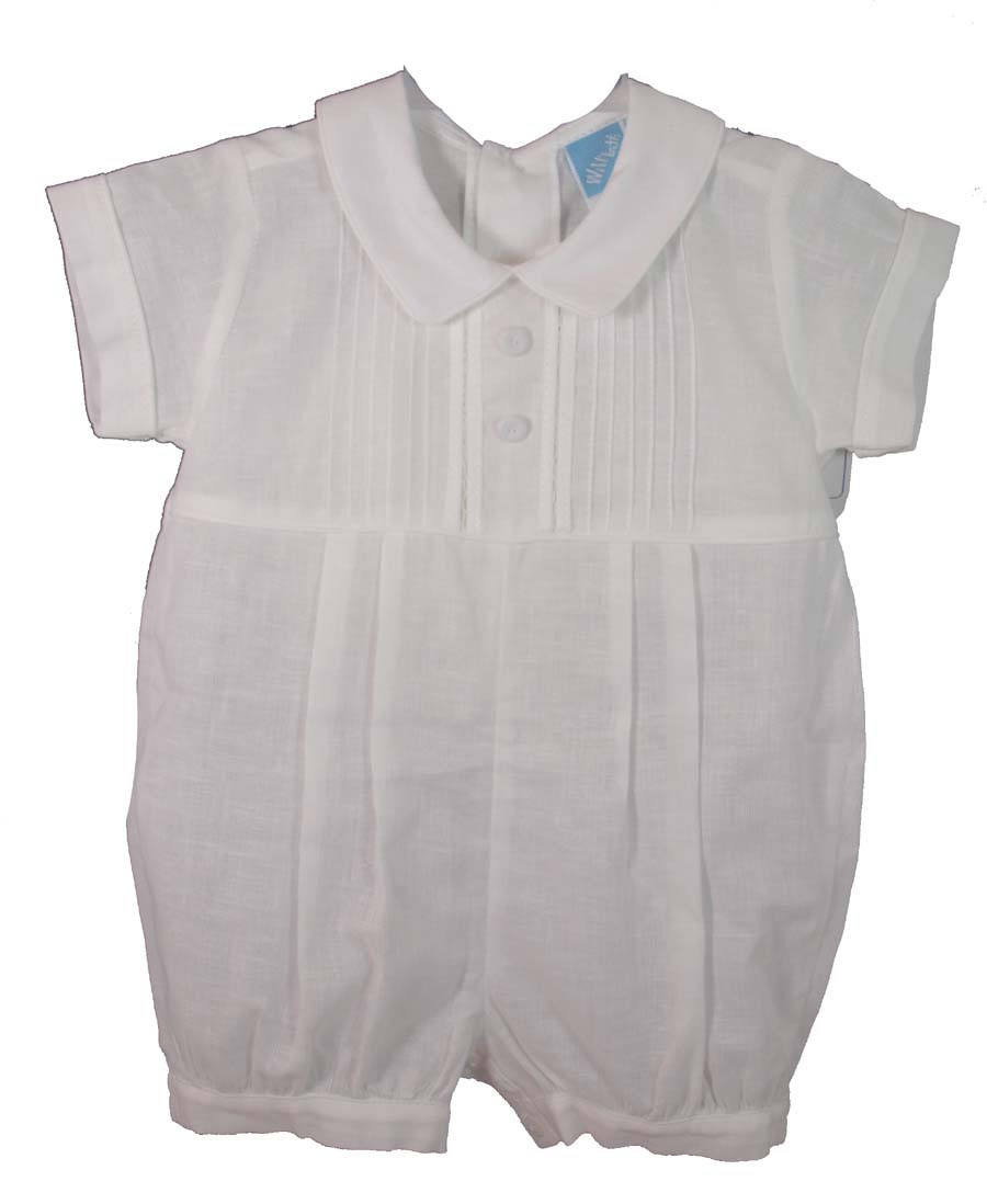 e26407cfd Infant Boys White Christening Romper - WillBeth - Hiccups Childrens ...