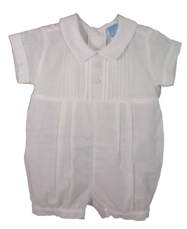 Infant Boys White Christening Romper - WillBeth