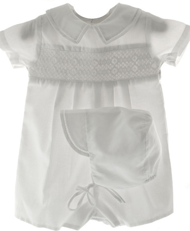 Boys Christening Romper & Hat Set