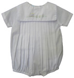 Infant Boys White Train Bubble Outfit - Petit Ami