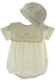 Boys Off White Christening Bubble Outfit with Cross Collar