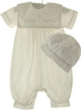 Boys Christening Long Romper with Cross Collar & Hat Set
