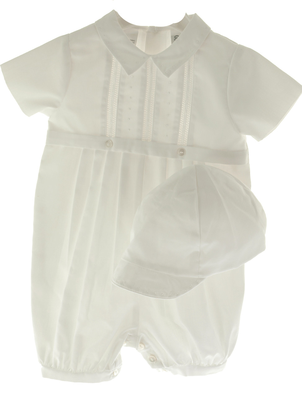 8f487ee3 Sarah Louise Boys White Christening Romper & Cap - Hiccups Childrens ...