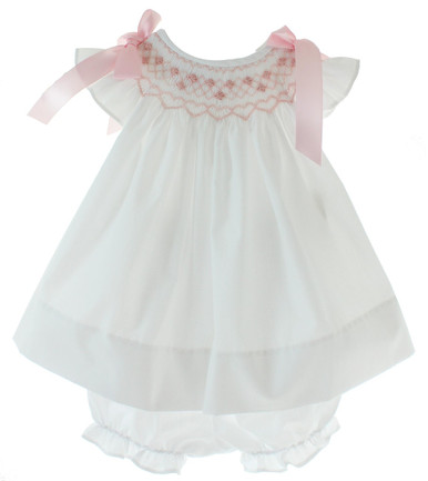 Baby Girls White Smocked Dress Pink Bows on Shoulder