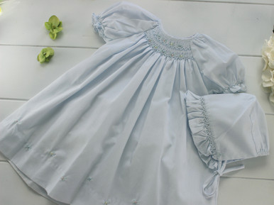 Newborn Girls Blue Smocked Dress Bonnet Layette Set