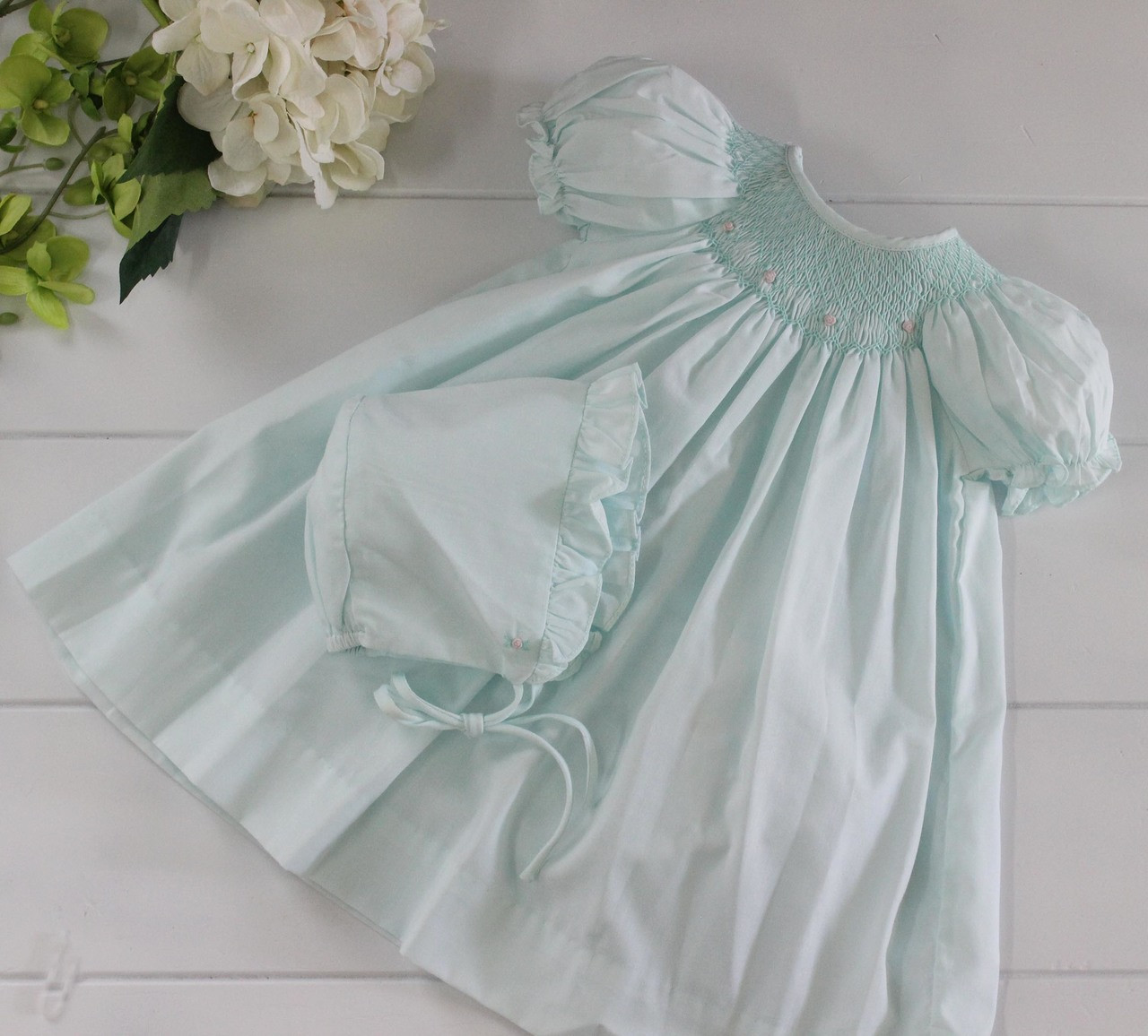 36313cd27 Petit Ami Mint Green Smocked Dress. Baby Girls Mint Green Bonnet with  Ruffle. See 2 more pictures