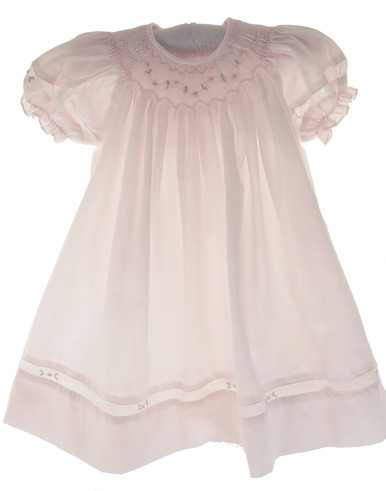Infant Girls Pink Smocked Daygown & Bonnet - Petit Ami