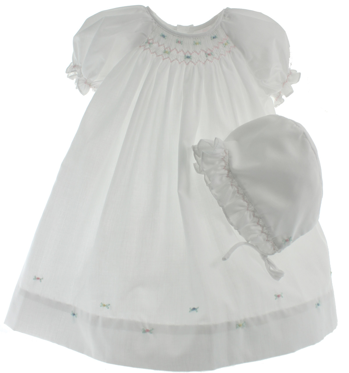 57a620820 ... Newborn Girls White Smocked Day Gown with Bonnet - Petit Ami. Loading  zoom