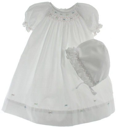 Newborn Girls White Smocked Day Gown with Bonnet - Petit Ami