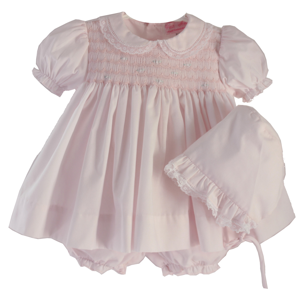 9d436a505 Newborn Girls Pink Smocked Dress & Bonnet - Petit Ami - Hiccups ...